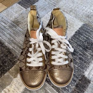 Coach Size 8 Gold Sneakers